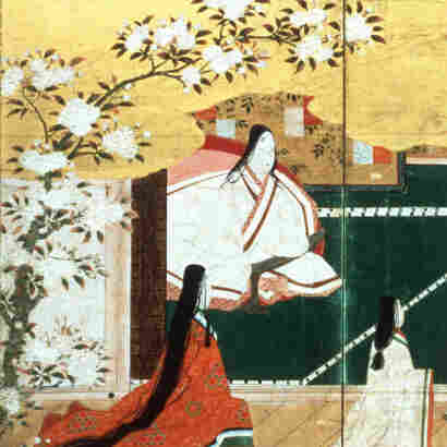 This pair of folding screens illustrates the 1,000-year-old novel Tale of the Genji.  The painting is attributed to Kano Eitoku-Momoyama.