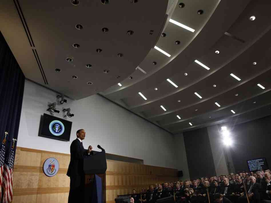 President Obama defends his Libya policy at the National Defense University, Washington, DC, Monday, March 28, 2011.