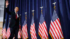 President Barack Obama leaves the stage after  he speaks about Libya at the National Defense University in Washington,  Monday, March 28, 2011.