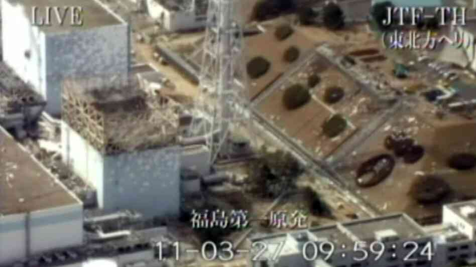 Reactor buildings No. 1 and 2 (left) of the Tokyo Electric Power Co. Fukushima No. 1 (Dai-ichi) nuclear power plant. Dangerous levels of radiation were detected in water thought to be leaking from the stricken Japanese reactor No. 2 have dealt a new setback to efforts to avert a nuclear disaster.
