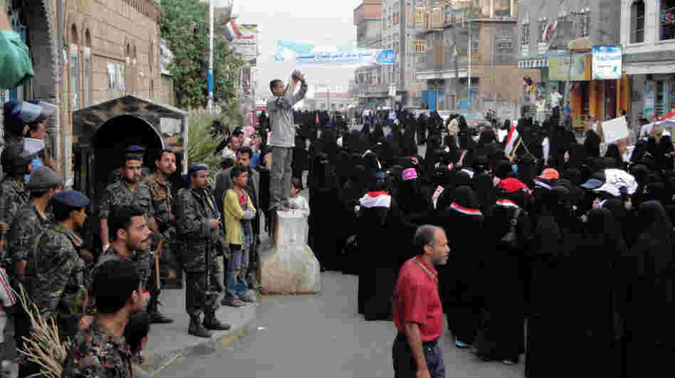 Yemeni women demonstrate under heavy security measures on March 27, 2011 in Ibb province, southwest of Sanaa, calling for the ouster of President Ali Abdullah Saleh.