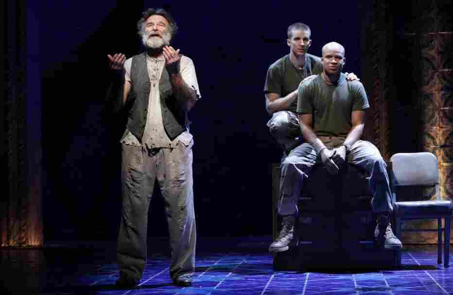 """Robin Williams, Brad Fleischer and Glenn Davis (left to right) in Rajiv Joseph's Bengal Tiger at the Baghdad Zoo. Director Moises Kaufman says the play is """"part ghost story, part war play, part satire, part theater of the absurd. """""""