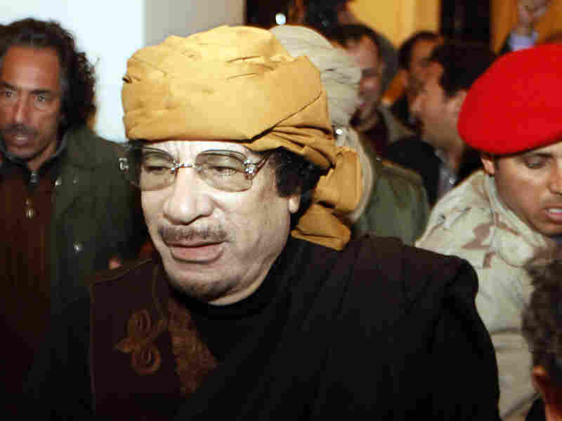 Libyan leader Moammar Gadhafi arrives at  the Rixos hotel in the capital Tripoli on March 8.