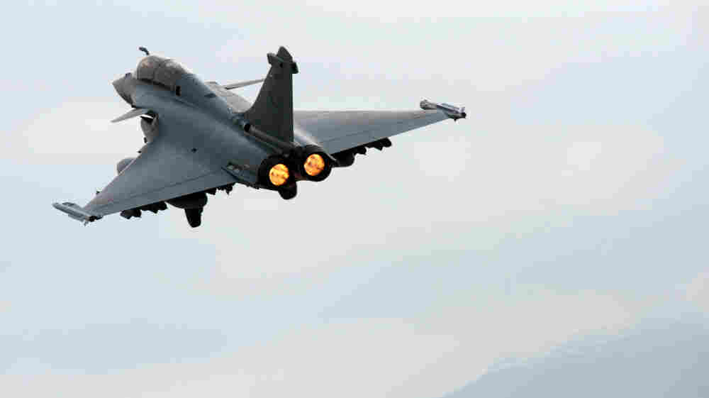 A Rafale jet takes off from the Solenzara base on the French island of Corsica for a mission in Libya on March 26.
