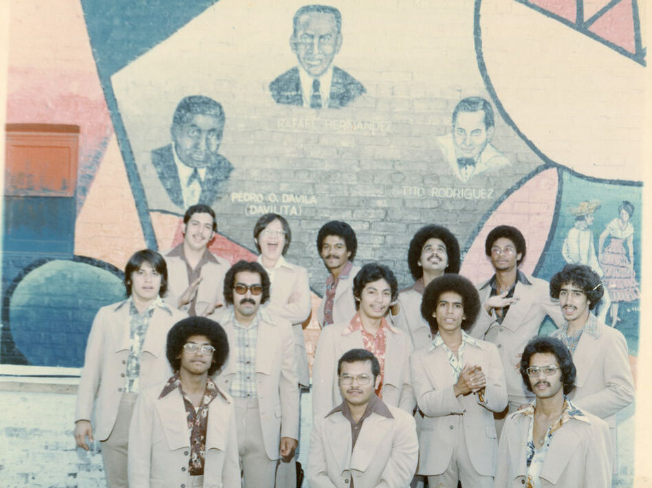 La Justicia, one of the earliest Chicago salsa bands, poses for a photo.