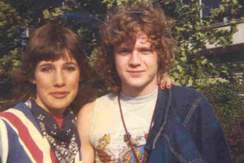 """""""Rick Allen of Def Leppard and me, on Aug. 4, 1984 in Portland, Ore., after my friend and I waited six hours to meet the band. I was completely psyched and acted like a giddy fool. He signed my super cool union jack shirt with a purple felt pen (days before sharpies!) and I've never washed it (and still have it) so it has serious ring around the collar and pits!! Haha."""" (Courtesy of Rebecca Boy..."""