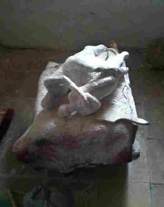 A marble piece, in progress, in Khalil's studio.