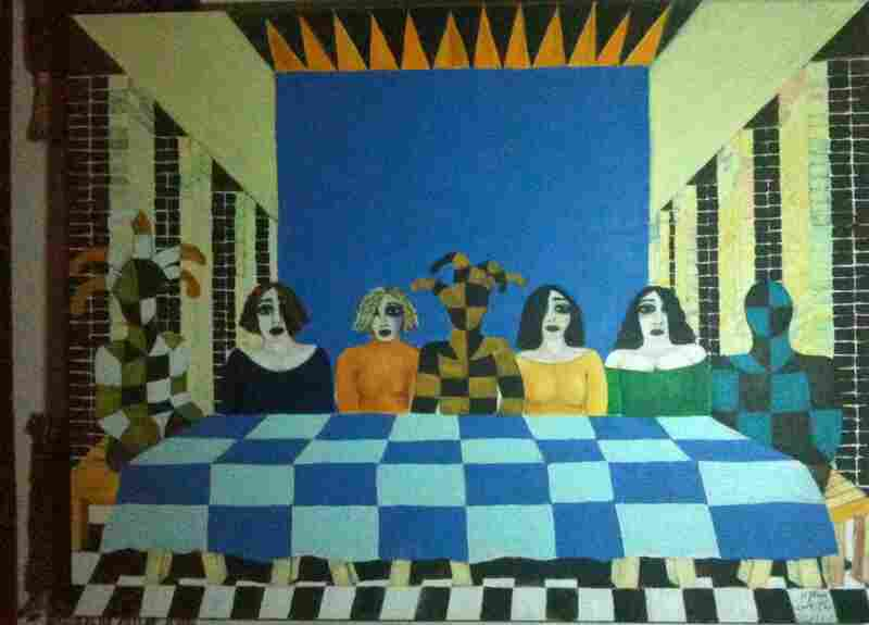 Some of Khalil's paintings, like this one, reflect a surrealistic world before the U.S. invasion of Iraq, when artists could thrive under dictator Saddam Hussein as long as their messages were hidden.