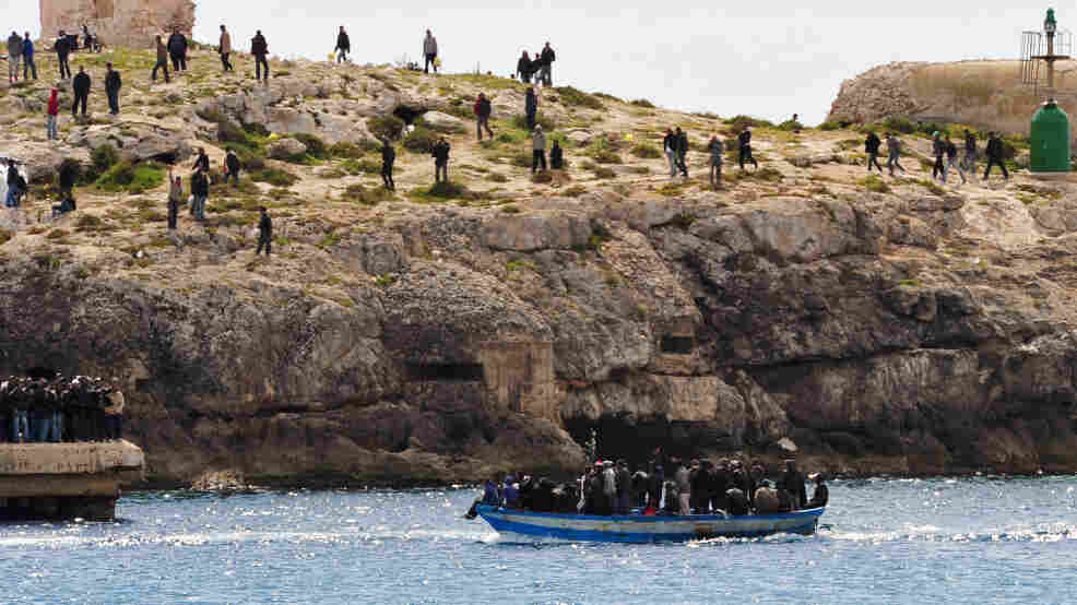 North African refugees arrive at Lampedusa, Italy on March 30, 2011.