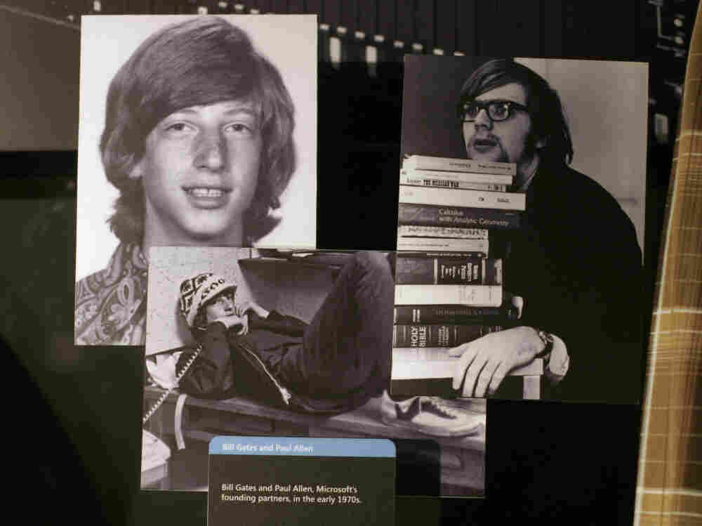 Gates (left) and Allen (right) became friends when they were young. Microsoft's visitor center included photos of them taken in the early '70s.