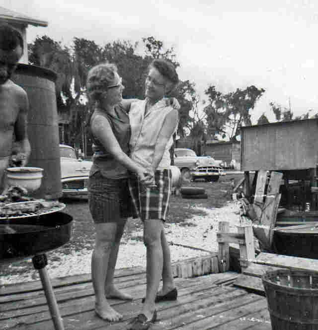 "Mama And Momaw Dancing At The Camp, Circa 1960sDenise writes: ""My mother, Millie, and my grandmother, Martha, at our fishing camp on Lake Hermitage near Myrtle Grove, La. ... Most of all, they taught me to enjoy life. My grandmother, my mother and the camp are now gone — my grandmother from old age, my mother from kidney disease this past July and the camp from coastal erosion. I miss th..."