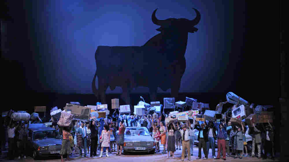 The final act takes place outside the bullfight arena in Seville.