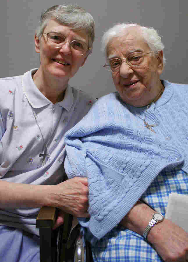 Sister Vincent Cecire (right) spoke to her friend Sister Catherine Garry (left) at StoryCorps in Dobbs Ferry, N.Y.
