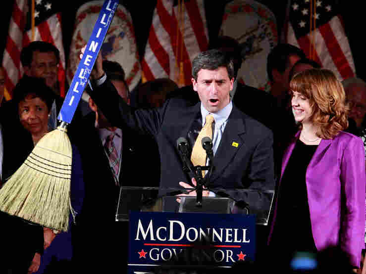 Attorney General of Virginia Ken Cuccinelli holds up a broom to represent a clean sweep during a victory party for Governor Bob McDonnell of Virginia in 2009. In the years since his election, Cuccinelli has challenged President Obama's health care reform with lawsuits.