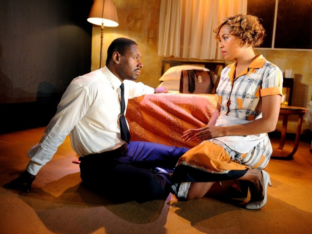 David Harewood and Lorraine Burroughs star in London's West End production of The Mountaintop, which is expected to open with a new cast on Broadway this fall.