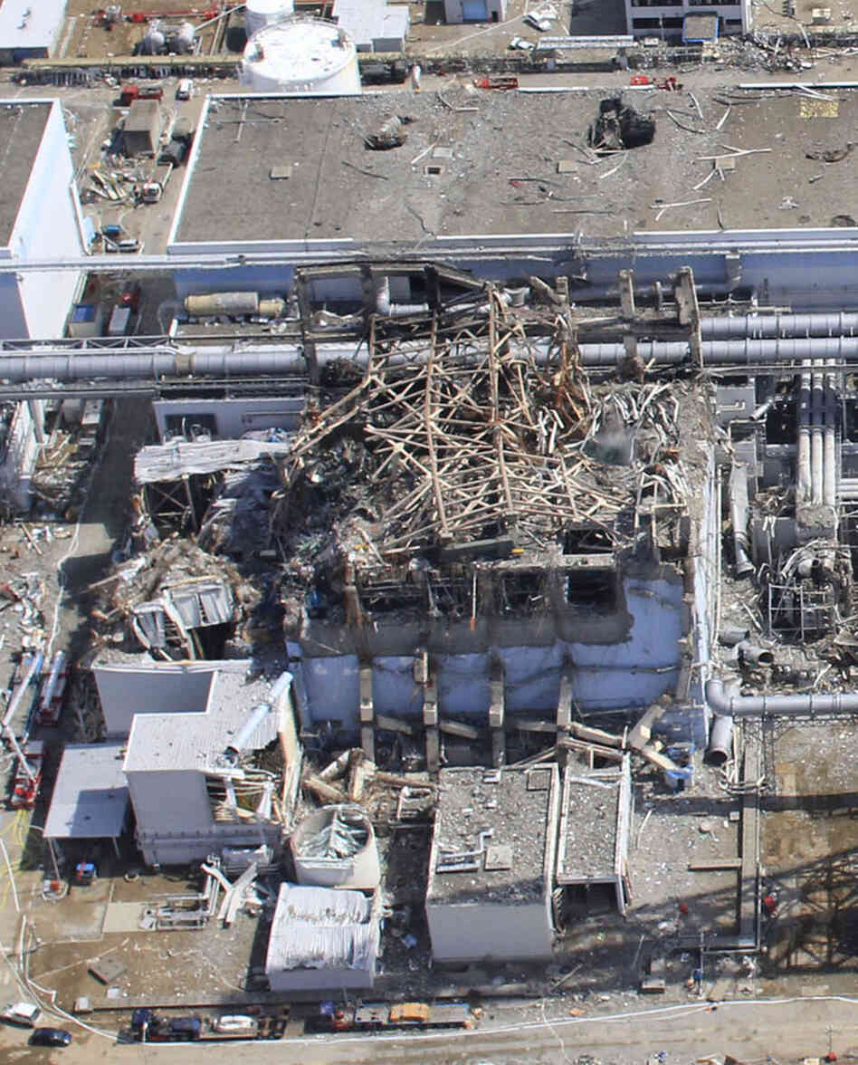 A hydrogen explosion rocked reactor 3 on March 14. Helicopters and fire trucks have tried dousing the reactor building with water. This photo was taken March 24.