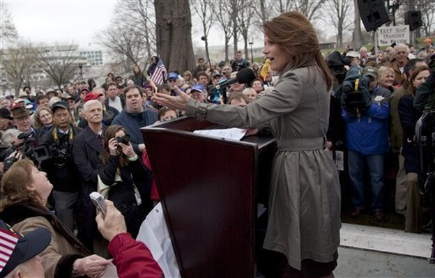 "Rep. Michele Bachmann (R-MN)  addresses a Tea Party ""Continuing Revolution Rally"" on Capitol Hill, Thursday, March 31, 2011."