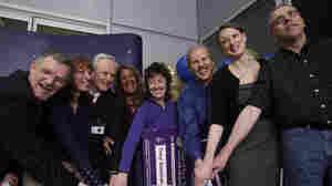 The winners (left to right): Leon Peck, Kristin Baldwin, Mike Barth, New York Lottery's Yolanda Vega, Tracy Sussman, John Kutey, Gabrielle Mahar ad John Hilton.