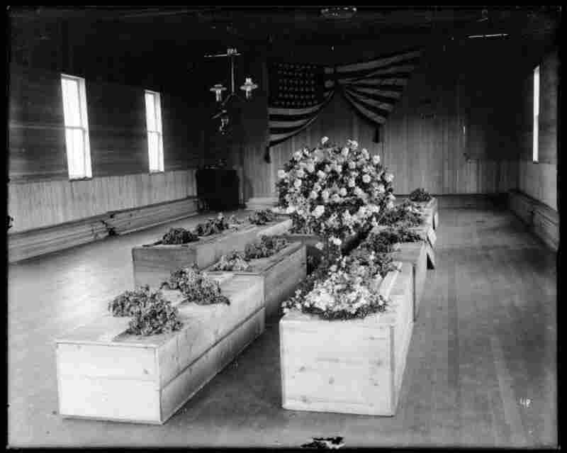 Caskets after Scofield Utah Mine Disaster of 1900