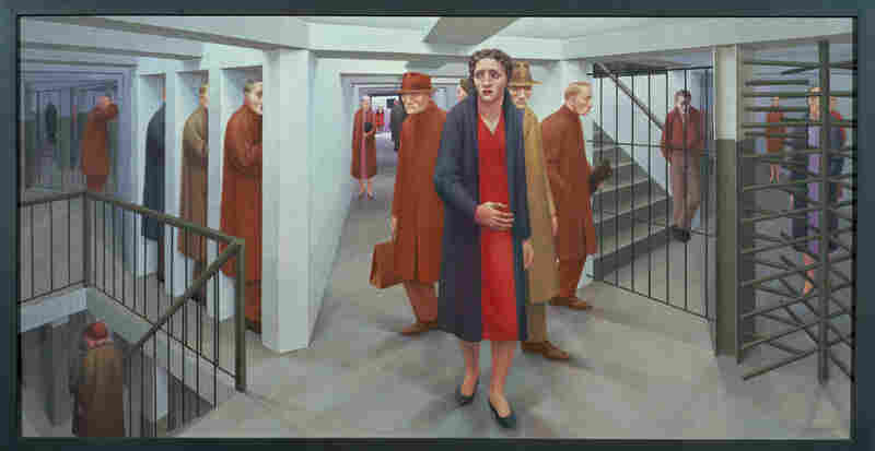 George  Tooker, 1920 - 2011, The Subway, 1950. Egg tempera on composition board. Whitney Museum of American Art,  New York. (Copyright George Tooker)