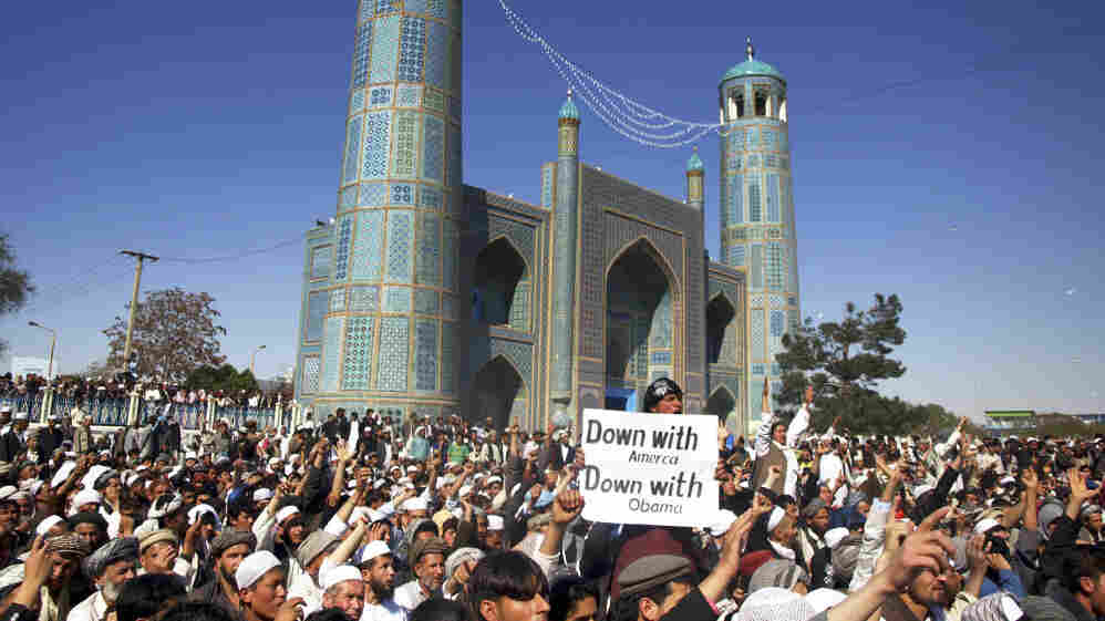 Afghans chant anti-U.S. slogans during a demonstration   in Mazar-i-Sharif, north of Kabul, on Friday.