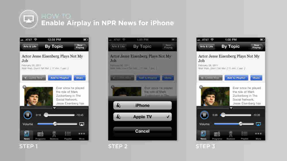 An example of enabling airplay inside the NPR News app.