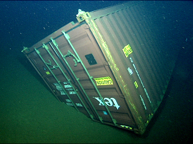 This shipping container was discovered upside down on the seafloor by researchers in June 2004, four months after it was lost at sea.
