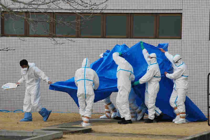 Japan Self-Defense Force officers in radiation protection suits hold a blue sheet over patients who were exposed to high levels of radiation at the Fukushima Dai-ichi nuclear power plant on March 25. A team of experts at Japan's National Institute of Radiological Sciences have helped treat injured workers.