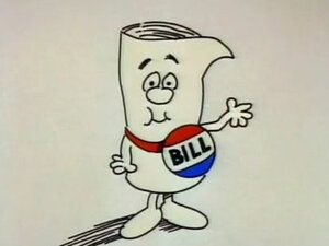 "Screenshot of ""Just a Bill"" Schoolhouse Rock educational film."