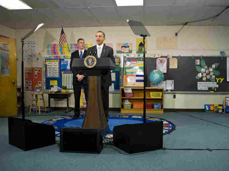 U.S. President Barack Obama delivers remarks on the Race To The Top program at an elementary school in Falls Church, Virginia last January. A year later, the success of the program remains unclear.
