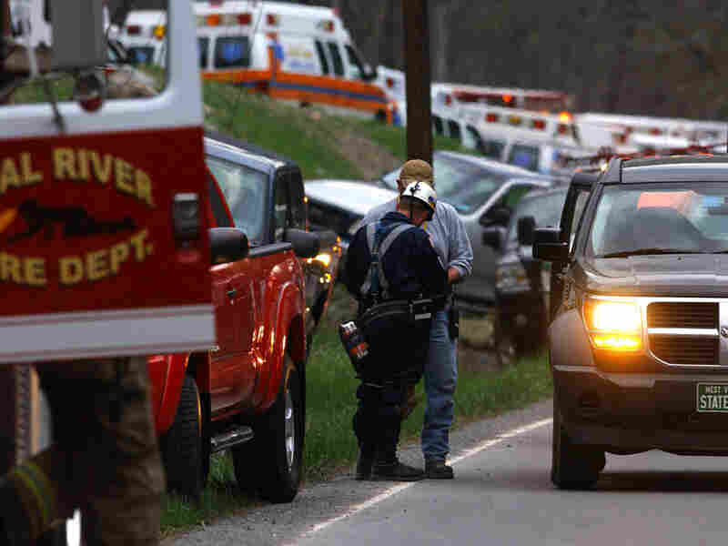 Authorities survey the scene several hours after an explosion at the Upper Big Branch mine.