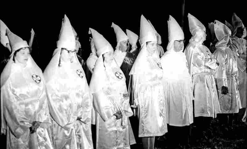 """Ku Klux Klan Rally In North Carolina; Photo By Jim WallaceAs civil rights activists became more organized from 1963-64, opposition activity also increased. """"What I think is fascinating is how we've gone, in 50 years, from people being proud of that to recognizing that was one of the darker moments of the American experience,"""" Bunch says."""