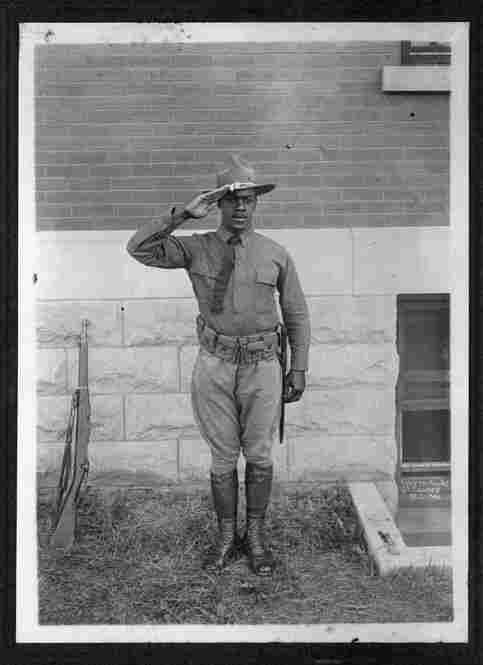 Maj. Peter L. Robinson, 1917Peter L. Robinson, Sr. (1892-1979) was born in Spotslyvania, Va., one of eight children born to slaves. He got a degree from Miner Normal School and a law degree from Howard University in 1924. He was commissioned as a first lieutenant in 1917, assigned to Camp Meade and later was a major in the Reserves. Robinson taught in Washington, D.C., schools for 40 years.