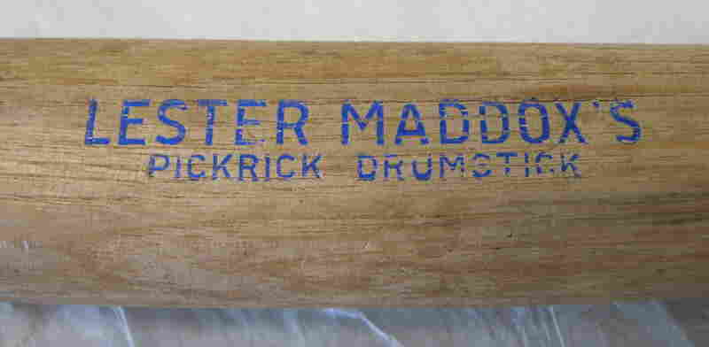 "Lester Maddox's Pickrick Drumstick, c. 1973Lester Maddox was the owner of the Pickrick Cafeteria, which kept a dozen axe handles — ""Pickrick Drumsticks,"" he called them — by the front door. Despite the passage of the Civil Rights Act of 1964, which outlawed segregation in public accommodations, Maddox refused to serve African-Americans, running a group of protesters off with a pistol whi..."