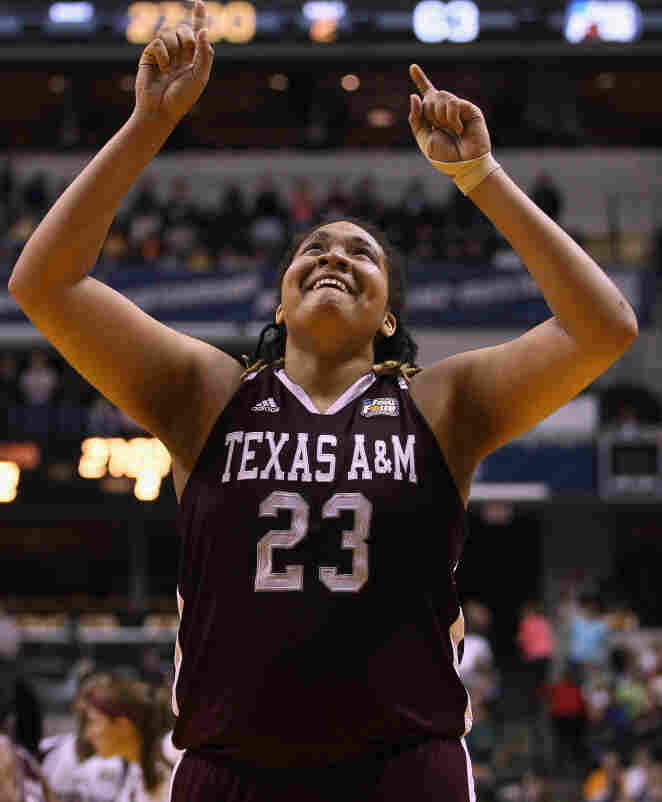 Danielle Adams of the Texas A&M Aggies celebrates the team's win over Stanford.