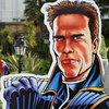 Austrian-American, actor and former California Governor Arnold Schwarzenegger, next to a promotion for his new project, The Governator.