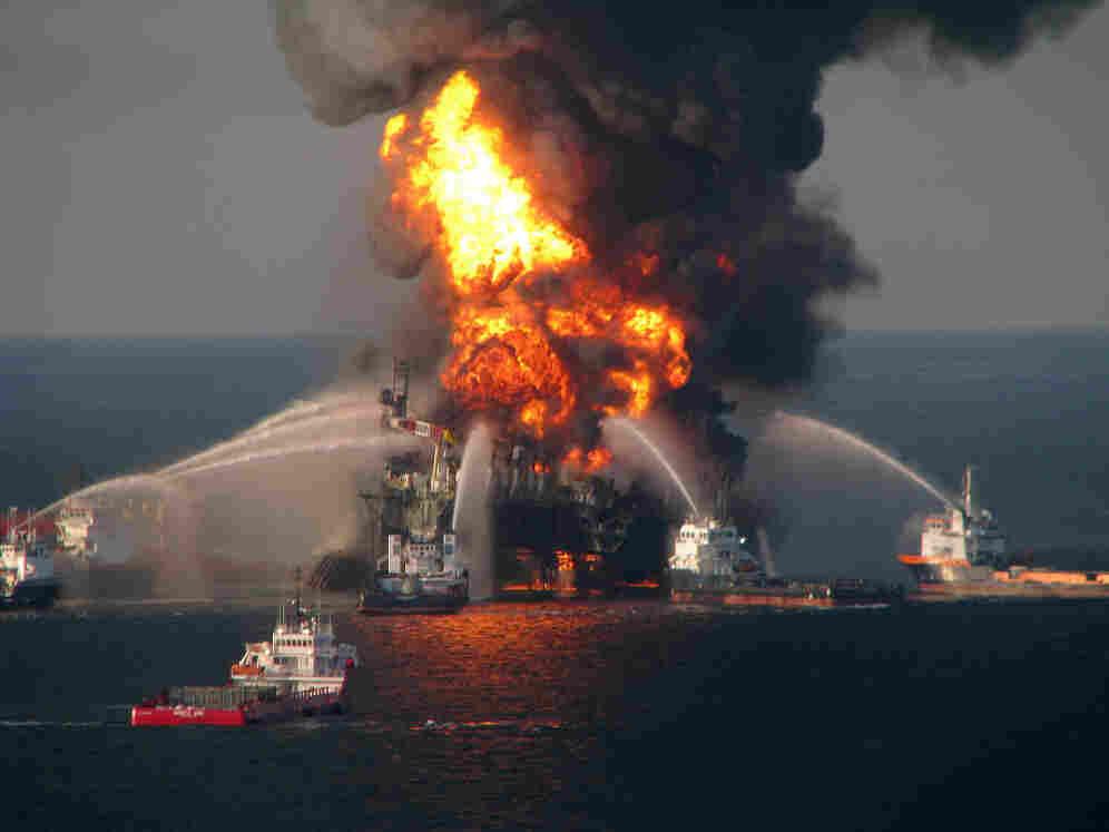 April 21, 2010: Fire boats battle the blaze on the Deepwater Horizon rig.