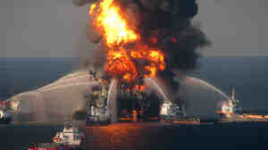 April 21, 2010: Fire boats battle the blaze on the Deepwater Horizon rig.