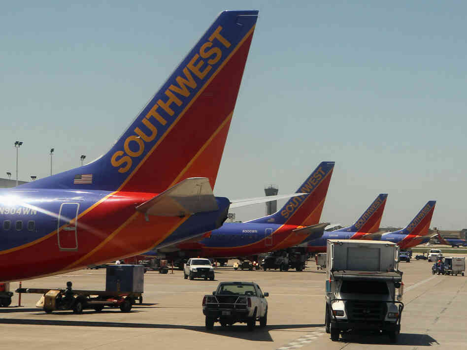 A view of Southwest airline jets at Long Island MacArthur Islip airport photographed on November 9, 2010 in New York City.