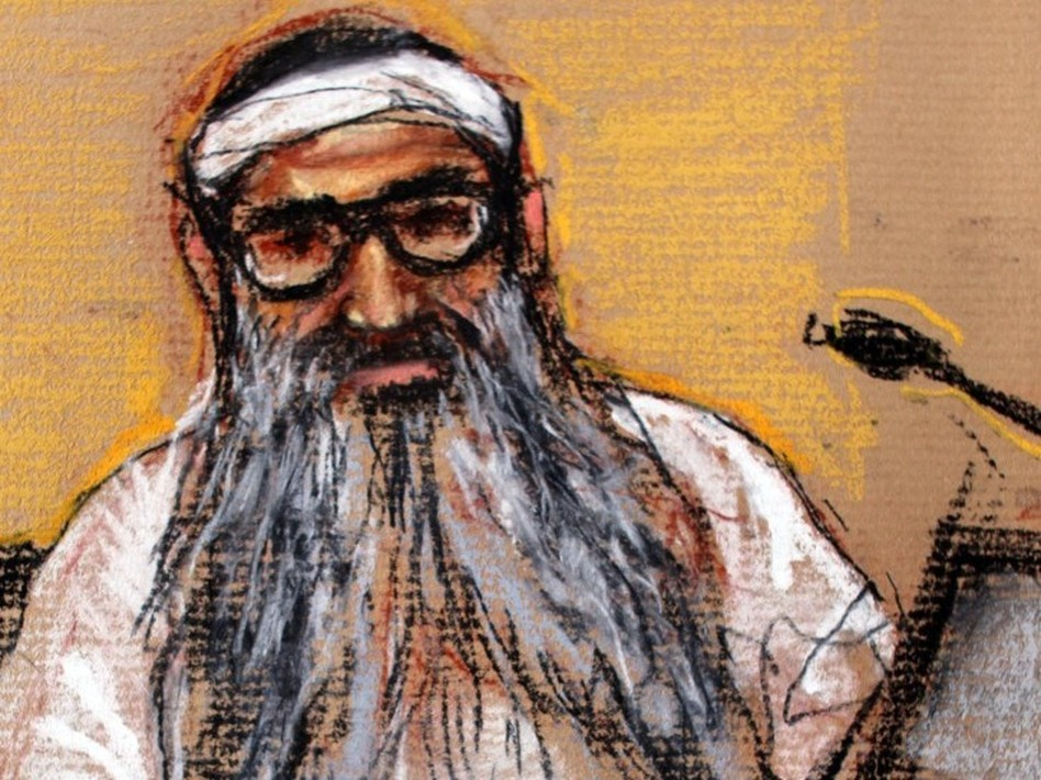 In this Jan. 19, 2009, photo of a sketch by courtroom artist Janet Hamlin, Sept. 11, 2001, attack co-defendant Khalid Sheikh Mohammed sits during a hearing at the U.S. Military Commissions court for war crimes, at Guantanamo Bay, Cuba. The United States has decided to try Mohammed by a military commission.
