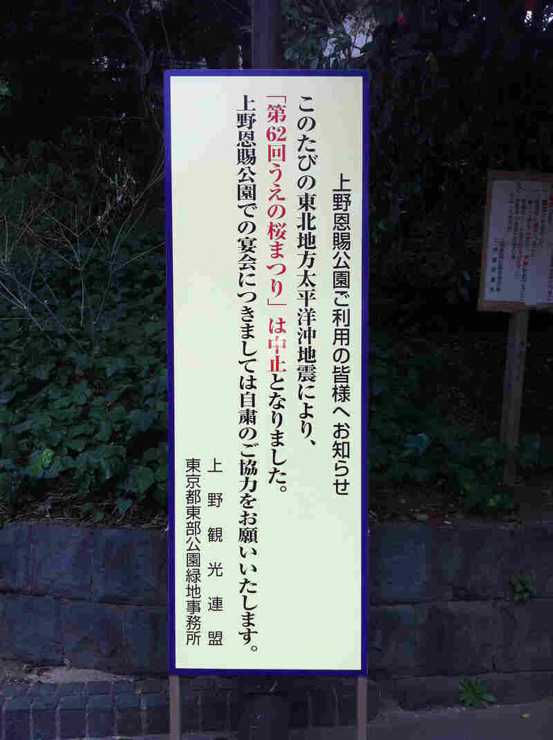 Signs in Tokyo's parks advise visitors not to picnic under the cherry blossoms, as is the national custom at this time of year, out of respect for victims of the earthquake and tsunami.