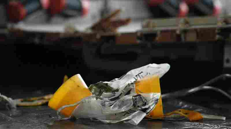 June 12, 2009 file photo: Some of the debris discovered shortly after the crash included this oxygen mask.