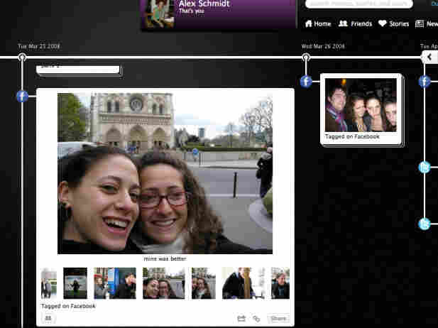 A screenshot of Alex Schmidt's Memolane album. The reporter, left, and her sister Anita, created an album of images and social media postings from a trip to Paris three years ago.