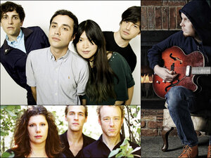The Pains Of Being Pure At Heart (top left), Low (bottom left), Timber Timbre's Taylor Kirk (right).