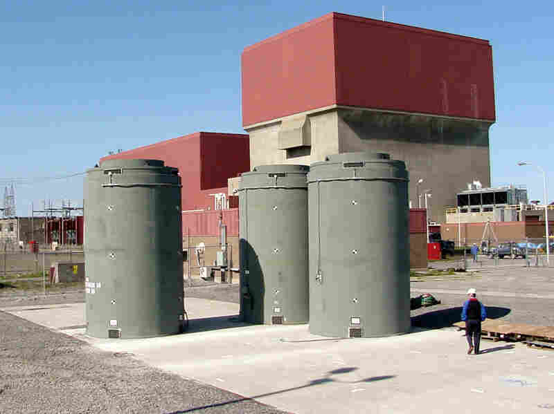 Dozens of spent fuel rod assemblies can be stored in dry casks, like the ones here at the James A. Fitzpatrick nuclear power plant in Scriba, N.Y.