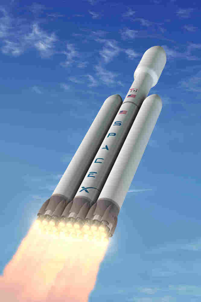 An artist's depiction of the Falcon Heavy rocket. SpaceX, the private company behind the rocket, says it will be able to carry about 117,000 pounds into orbit — about twice as much as a space shuttle.