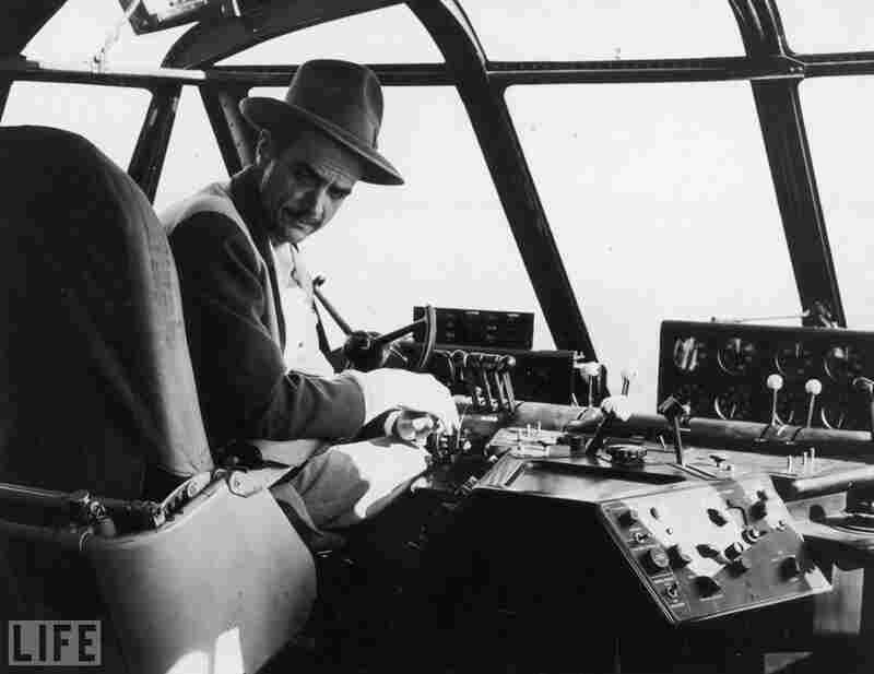 Howard Hughes sits in the cockpit of the Spruce Goose on the day of its celebrated, long-delayed test flight in 1947.