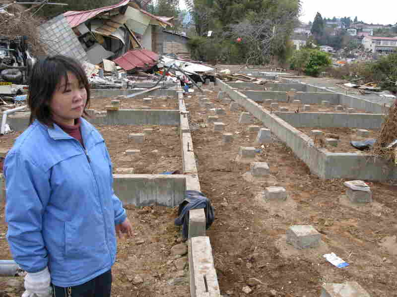 "Bare foundation blocks are all that's left of Mitsue Murakami's Big Ocean Hotel after the tsunami ravaged the Pacific coast of Japan. Murakami, who is also a seaweed farmer, says everything was lost, but ""we're trying very hard to overcome this hardship."""