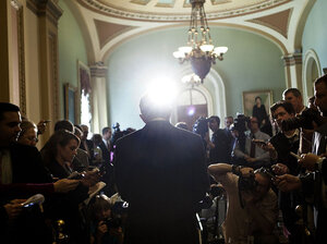 Senate Majority Leader Sen. Harry Reid (D-NV) speaks with reporters on Capitol Hill Tuesday.
