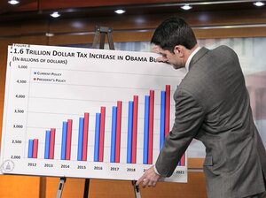 House Budget Committee Chairman Paul Ryan (R-WI) puts up a chart as he delivers the GOP response to President Obama's budget submission for 2012 on Feb. 14. Ryan is expected to unveil his budget plan for 2012 on Tuesday.